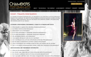 Dance studio website's FAQ page