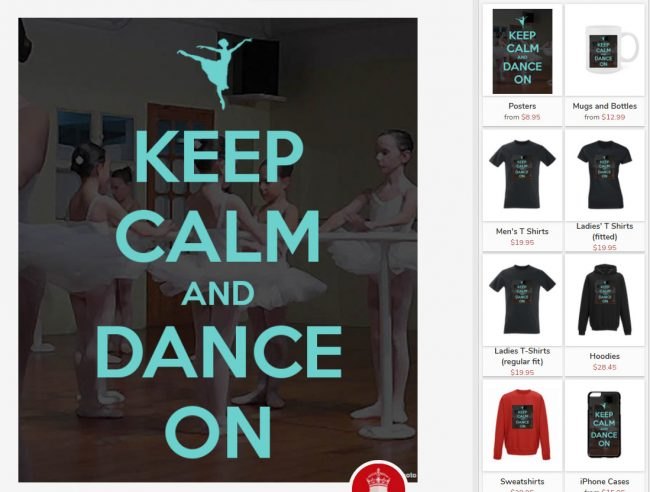 Create fun graphics for your dance studio with the Keep-Calm-O-Matic