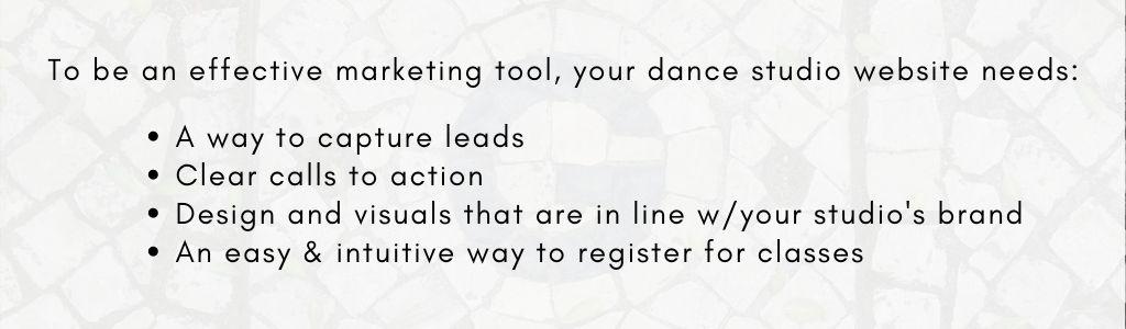 Your dance studio website is your #1 marketing tool