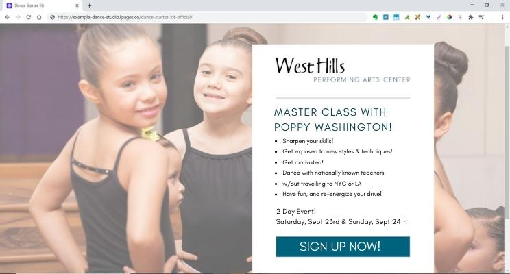 Dance studio landing page example